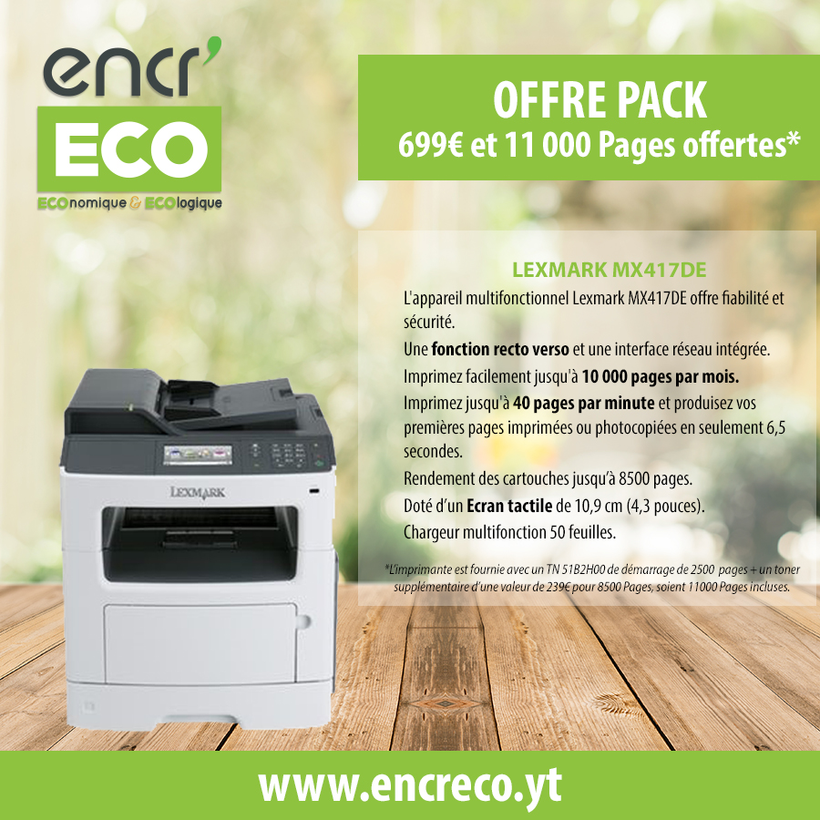 PACK LEXMARK MX 417 DE + 1 TONER 8500 PAGES